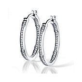 The REAL Effect Rhodium Coated Sterling Silver Cubic Zirconia Hoop Earrings