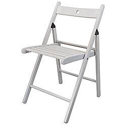 Harbour Housewares Wooden Folding Chair - White Wood Colour