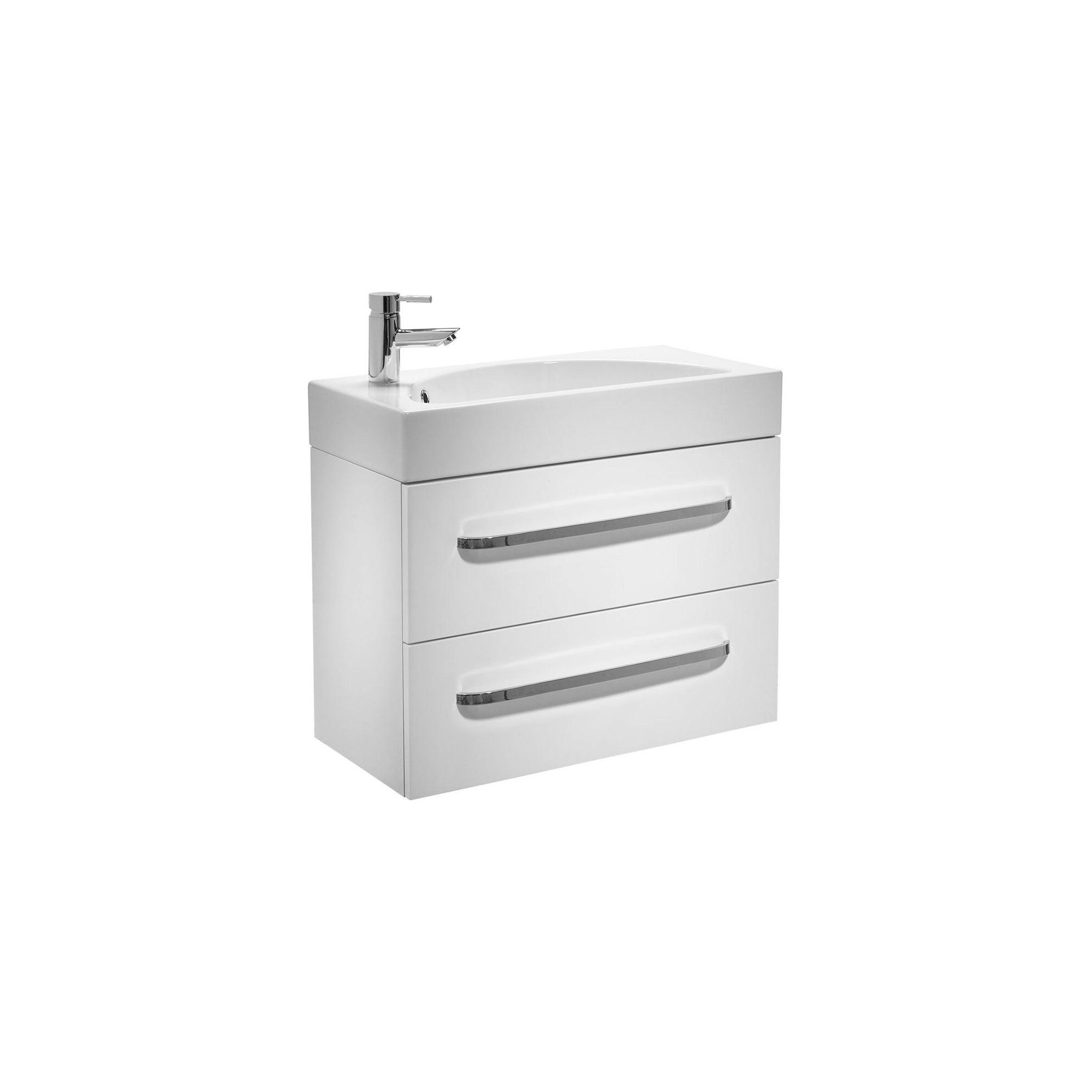 Tavistock Arc White Wall Mounted Cabinet and Basin - 1 Tap Hole - 700mm Wide