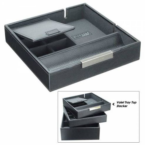 Dulwich Designs Valet Tray Black Premium Top Stacker Jewellery Box