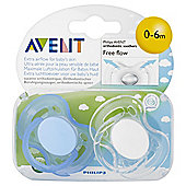 Avent Soother Freeflow 0-6Mth X2