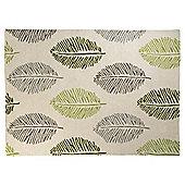 Leaf Print Rug 80 x 150cm, Green