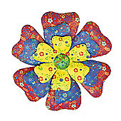 Metal Flower Head Wall Art with Vibrant Floral Print Design