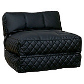 Leader Lifestyle Big Chill 1 Seater Fold Out Chair Bed - Luxurious Black Leather