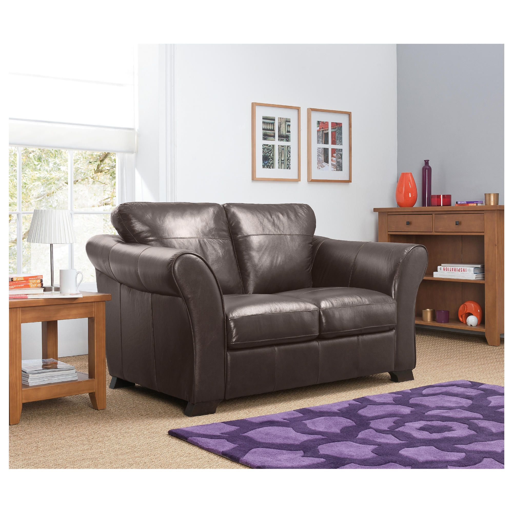 Capri Small Leather Sofa Chocolate at Tesco Direct