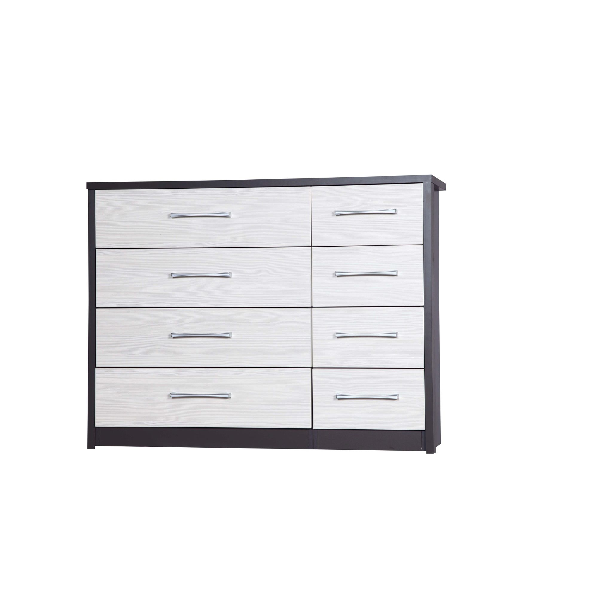 Alto Furniture Avola 8 Drawer Double Chest - Grey Carcass With White Avola at Tesco Direct