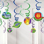 Jungle Animals Party Decorations - 61cm Hanging Swirls