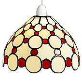 Loxton Lighting Tiffany Bistro 1 Light Dome Small Circles Shade - Beige / Red