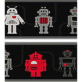 Robot Themed Border - Dark Grey