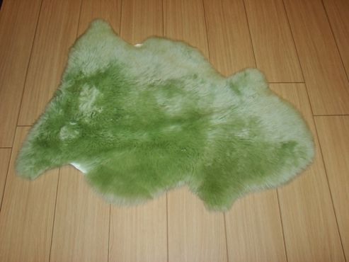 Bowron Sheepskin Long Wool Gold Star Rug in Apple Green - 95cm H x 57cm W (One Piece)