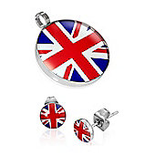 Urban Male Stainless Steel Union Jack Flag Pendant & Earring Set For Men