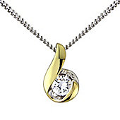Silver with 9ct Overlay Cubic Zirconia Pendant.