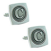Antiqued Silver Plated Initial - C Cufflink - Single