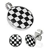 Urban Male Stainless Steel White & Black Checkerboard Pendant & Earring Set