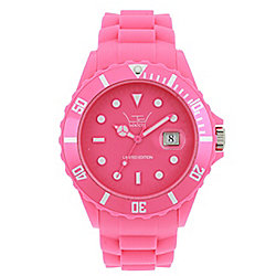 LTD Classic Silicon Unisex Pink Silicone Date Watch 91301