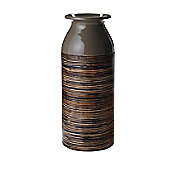 Linea Lacquer Bamboo Vase Medium In Grey New