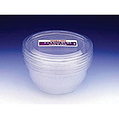 Large Plastic Bowls & Lids - 1L, Pack of 4