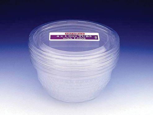 Large Plastic Bowls & Lids - 1L, Pack of 4