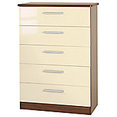Welcome Furniture Knightsbridge 5 Drawer Chest - Cream - Tangerine