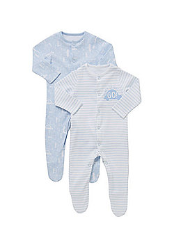 F&F 2 Pack of Car Sleepsuits - Blue