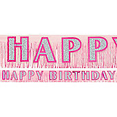 Banners Birthday Pink Fringed Banner (each)