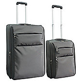 Tesco 2-Wheel Ultra Lightweight Suitcase, Grey Set of 2