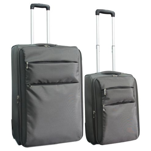 Tesco 2-Wheel Ultra Lightweight Suitcase, Grey Set of 2