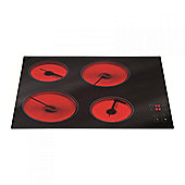 MHC002FR 60cm Frameless Four Zone Ceramic Hob in Black.