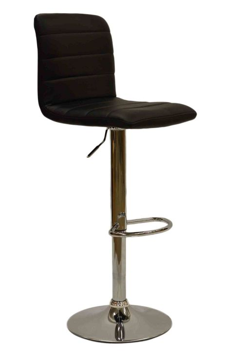 Horizon Black Faux Leather Bar Stool