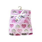 First Steps Supersoft Fleece Baby Blanket Pink Lovehearts 75x100cm