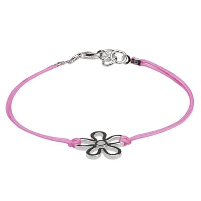 Pink Cord Bracelet with Sterling Silver Flower - 14cm