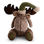 Sitting Handmade Fluffy Fabric Christmas Reindeer Ornaments Design A