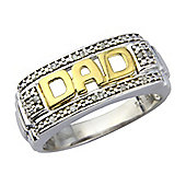 Sterling Silver with Gold Overlay Diamond Set Ring