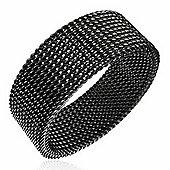 Urban Male Men's Ring Black Look Stainless Steel Mesh Band 8mm