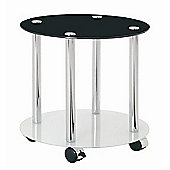 Urbane Designs France Trolley Side Table - Black / White