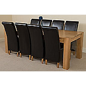 Kuba Chunky Solid Oak 220 cm with 8 Black Montana Chairs
