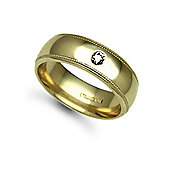 Jewelco London 18ct Yellow Gold 7mm Court Mill-Grain Diamond set 10pts Solitaire Wedding / Commitment Ring