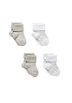 Mothercare Newborn's Grey Striped Turn Over Top Socks - 4 Pack Size 0-6 months