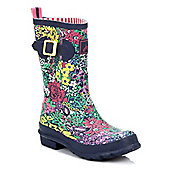 Joules Womens French Navy Chelsea Floral Wellington Boots - Blue