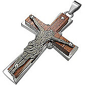 Urban Male Contemporary Crucifix Cross In Stainless Steel and Wood
