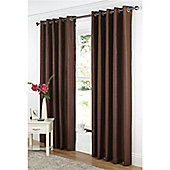 Dreams and Drapes Java Lined Eyelet Faux Silk Curtains 66x54 inches (167x137cm) - Chocolate