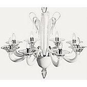 De Majo 7088 Chandelier - 80 cm H x 80 cm Dia - Milk-White and Clear Glass
