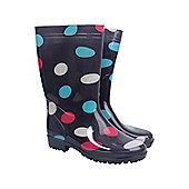 Rain Spot Womens Wellie Wellington Waterproof Fabric Lined Rain Printed Boots - Blue