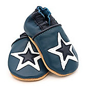 Dotty Fish Soft Leather Baby Shoe - Navy and White Star - Navy
