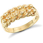 9ct Solid Gold light weight 2 row Keeper Ring