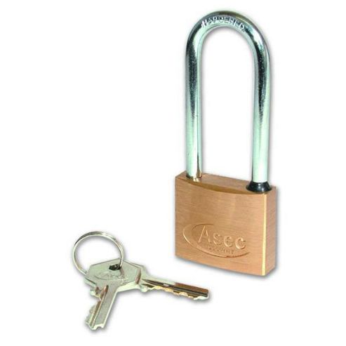 ASEC KD Long Shackle Brass Padlock - 30mm KD Visi