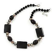 Black Ceramic & Grey Crystal Bead Necklace In Rhodium Plating - 42cm Length/ 5cm Extension