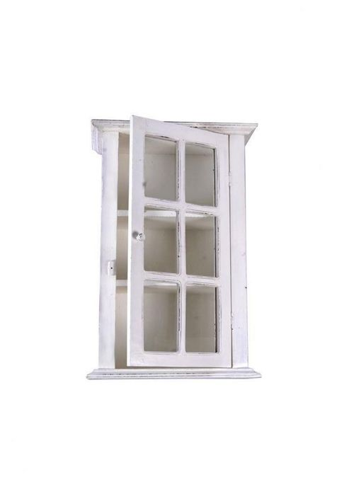 Papa Theo Wall Cabinet with Glass Front - Antique White
