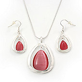 Silver Plated 'Teardrop' Pink Cats Eye Pendant Necklace & Drop Earrings Set - 38cm Length/ 6cm Extension