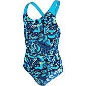 Speedo Girls Allover Splashback Print 38 Swimsuit - Blue